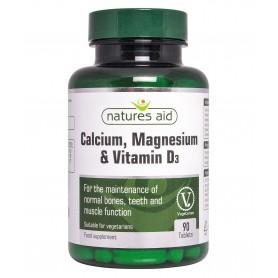 Calciu, Magneziu si Vitamina D3 - 90 comprimate Natures Aid
