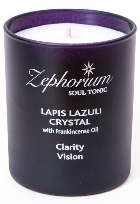 lumanare cu cristale de lapis lazuli si ulei de tamaie