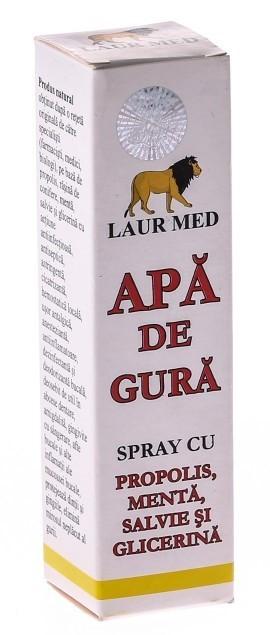 apa de gura spray propolis menta 30ml laur med