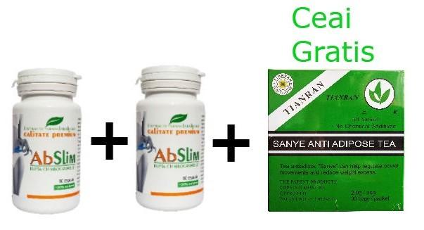 pachet - 2x abslim - capsula de slabit! 60 cps + ceai antiadipos 30dz tianran gratis